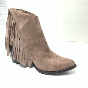 Taupe Fringe Booties Size 6.5